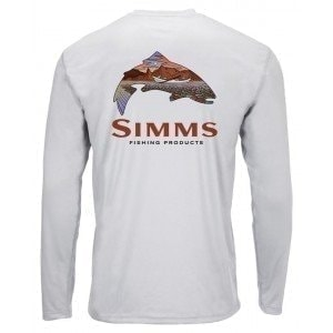 Solar Tech Tee Simms Troutscape Sterling L Блуза Simms